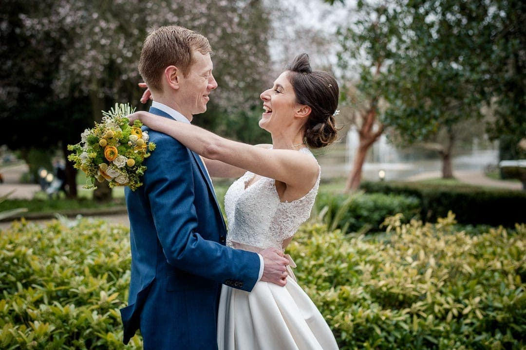 Bride and groom in Jepson Gardens in Warwickshire