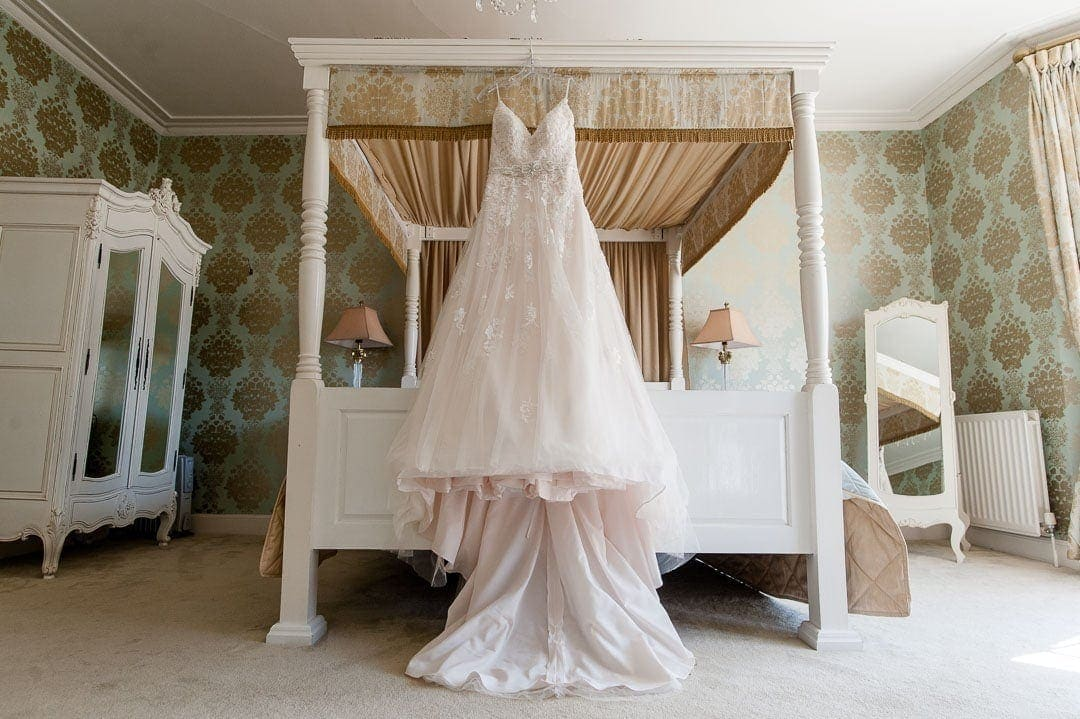 The bridal suite at Warwick House wedding venue